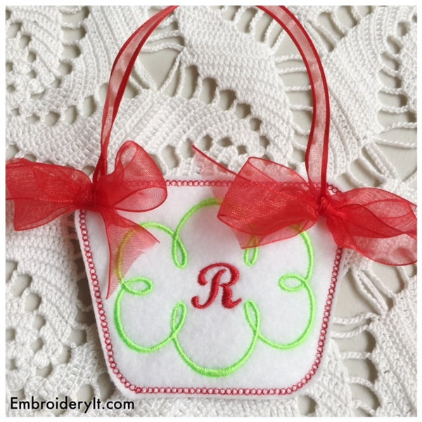 in the hoop monogram basket letter r design