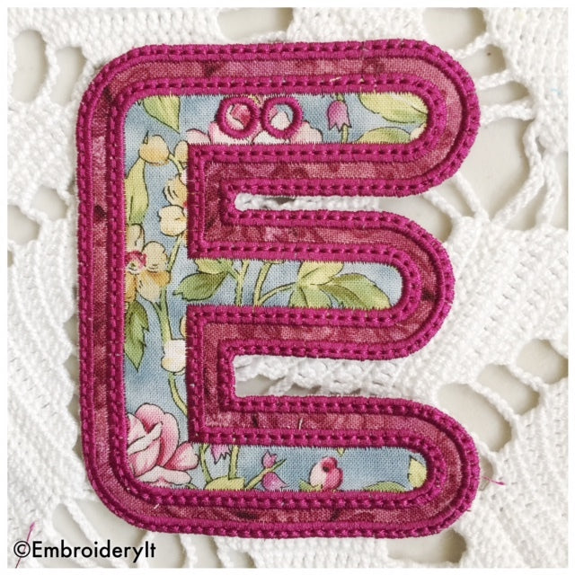 machine embroidery design letter E banner