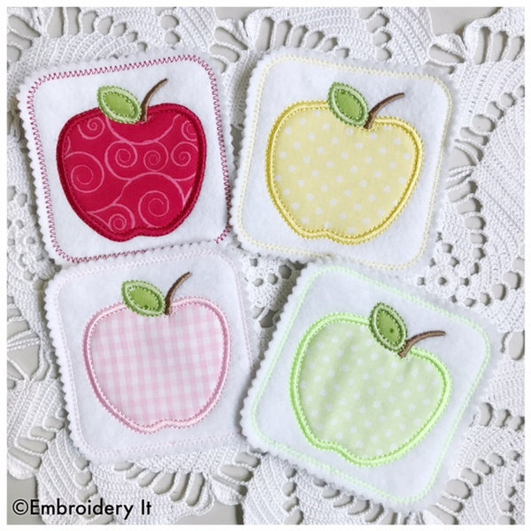 Machine embroidery design in the hoop apple applique coaster