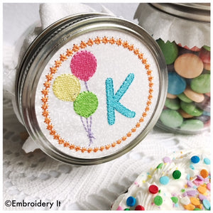 Balloon mason jar alphabet set in the hoop machine embroidery design