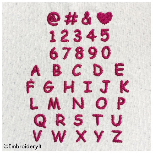 Machine embroidery alphabet