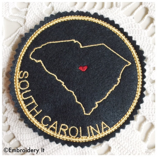 machine embroidery in the hoop South Carolina coaster design