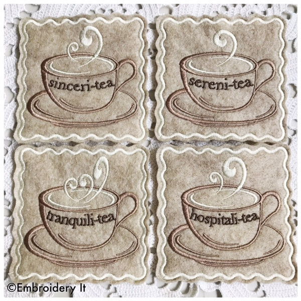 Inspirational teacups machine embroidery in the hoop coaster pattern