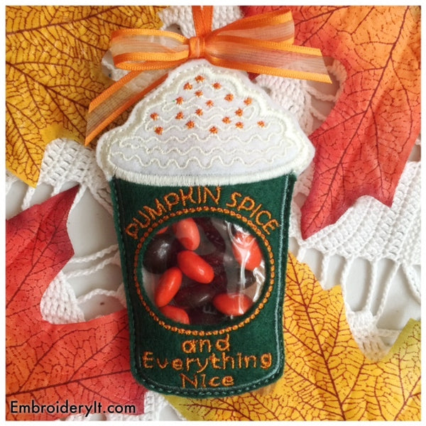 in the hoop machine embroidery pumpkin spice latte candy holder