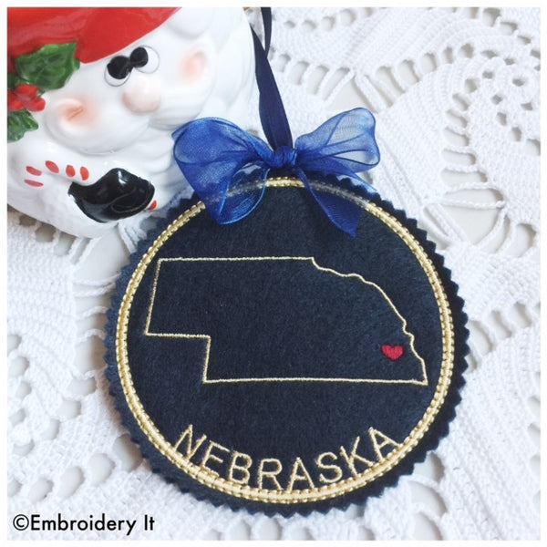 In the hoop Nebraska ornament