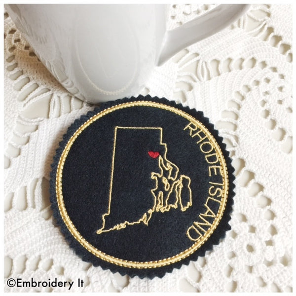 Machine embroidery Rhode Island in the hoop coaster design