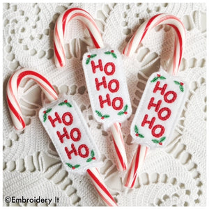 machine embroidery in the hoop candy cane slider