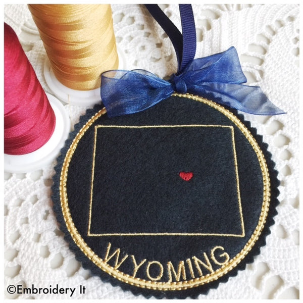 Machine Embroidery Wyoming in the hoop Christmas ornament design