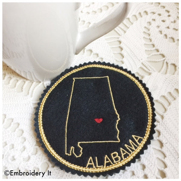 Machine embroidery Alabama Coaster