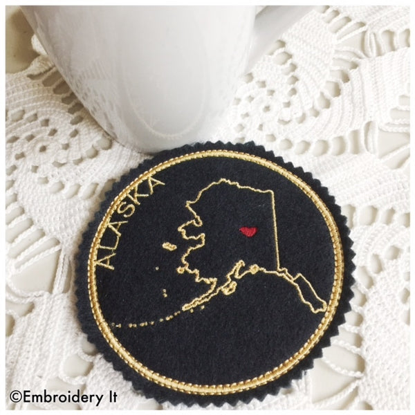 Machine Embroidery Alaska Coaster