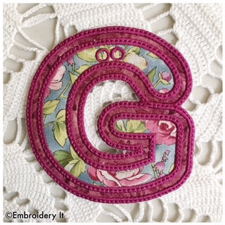 Double applique banner letter G for machine embroidery