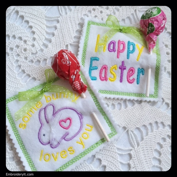 machine embroidery Easter sucker holders