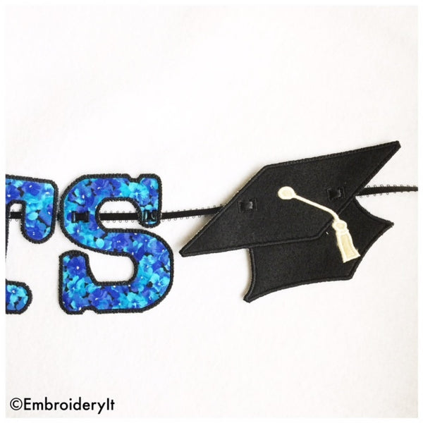 graduation cap in the hoop machine embroidery design