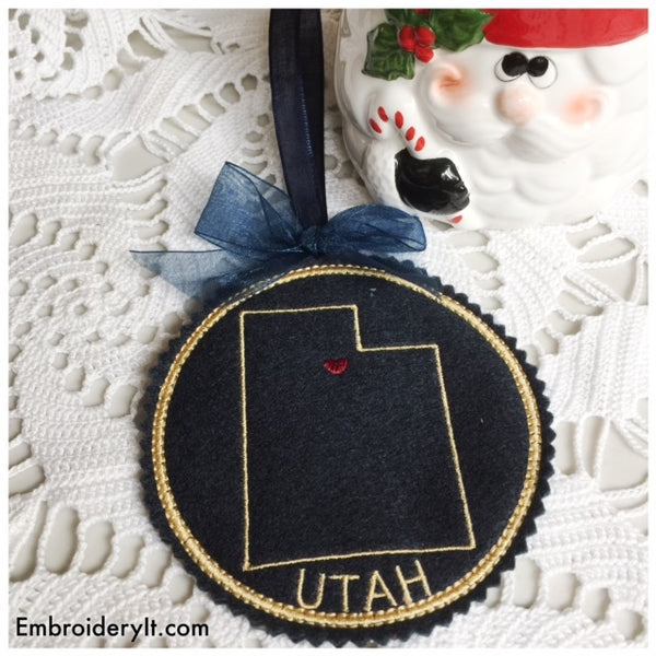 In the hoop machine embroidery Utah Christmas ornament design