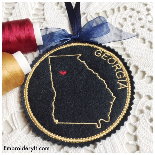 Machine embroidery Georgia ornament
