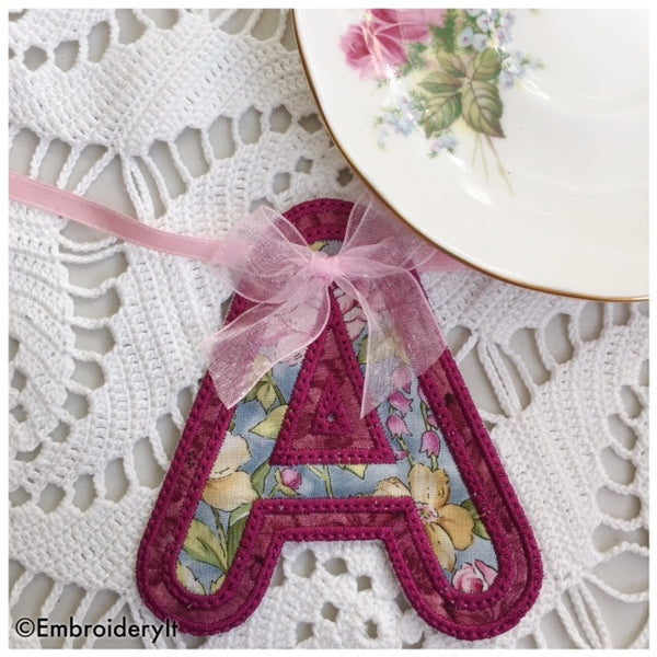Machine Embroidery Applique Banner Alphabet