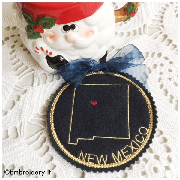 Machine Embroidery In the hoop Christmas ornament New Mexico
