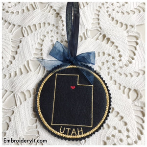 Machine Embroidery in the hoop Utah Christmas ornament pattern