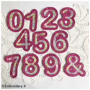 Machine embroidery applique in the hoop number set design