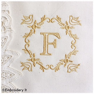 Bird monogram alphabet set for linen napkins