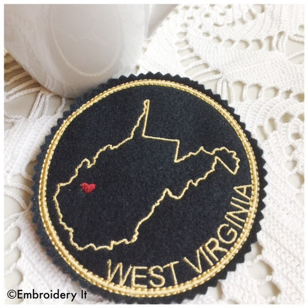 In the hoop machine embroidery West Virginia coaster design