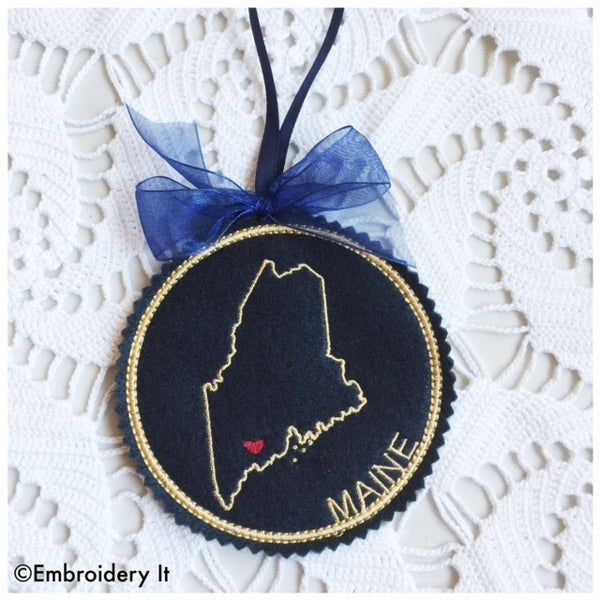Machine embroidery Maine Christmas ornament