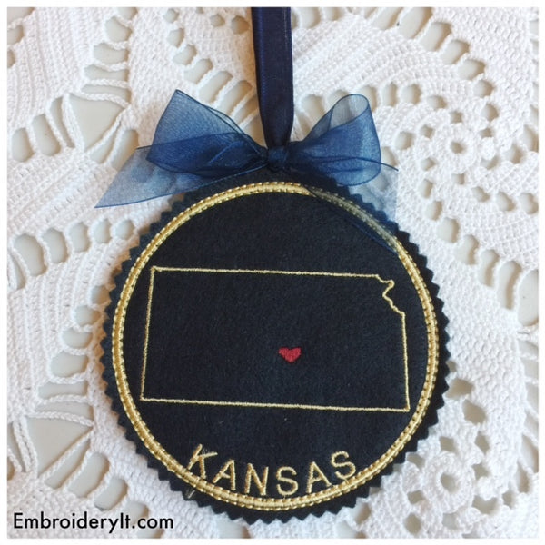 I heart Kansas embroidery design