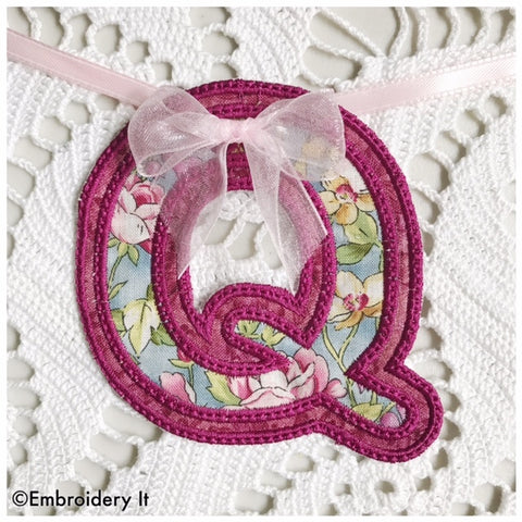 Machine embroidery alphabet banner