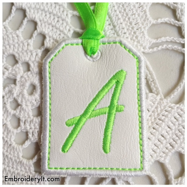 in the hoop tag alphabet machine embroidery pattern