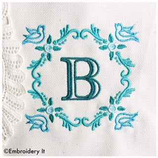 Machine embroidery bird monogram set