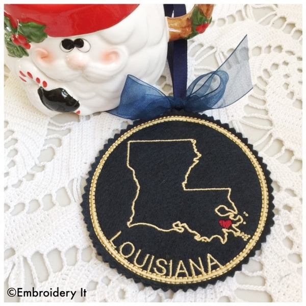 In the hoop Louisiana ornament
