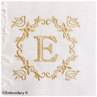 Bird monogram machine embroidery alphabet set
