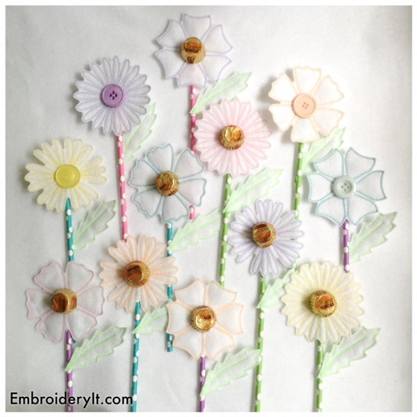 flower candy bouquet machine embroidery designs