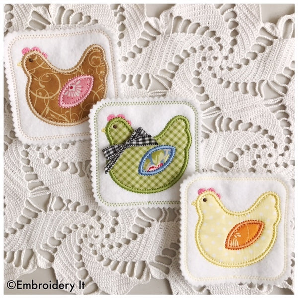 chicken applique coaster in the hoop machine embroidery design
