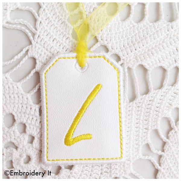 machine embroidery in the hoop tag