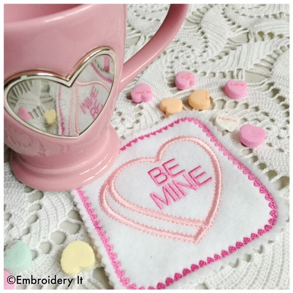 Machine embroidery in the hoop candy hearts coaster designs