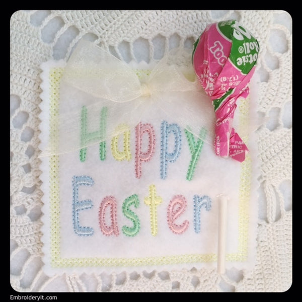 In the hoop machine embroidery Easter sucker holders