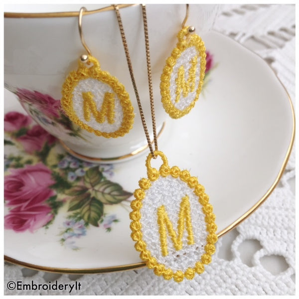 Machine Embroidery Alphabet Free Standing Lace Jewelry