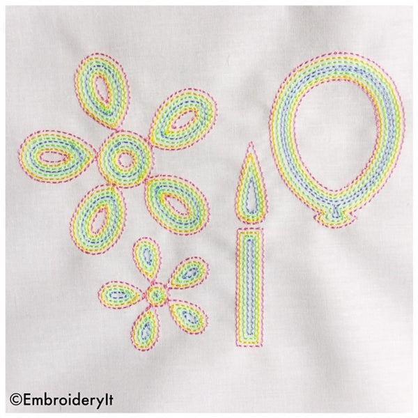 Machine embroidery outline birthday set patterns