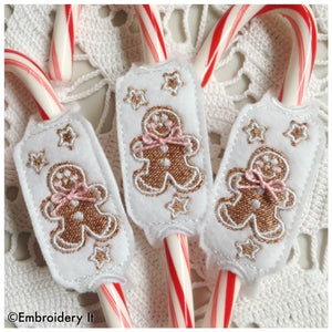 Machine embroidery in the hoop candy cane holder