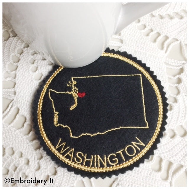 Machine embroidery Washington state in the hoop coaster