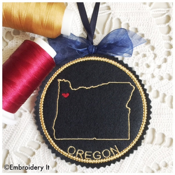 In the hoop Oregon Christmas Machine embroidery pattern