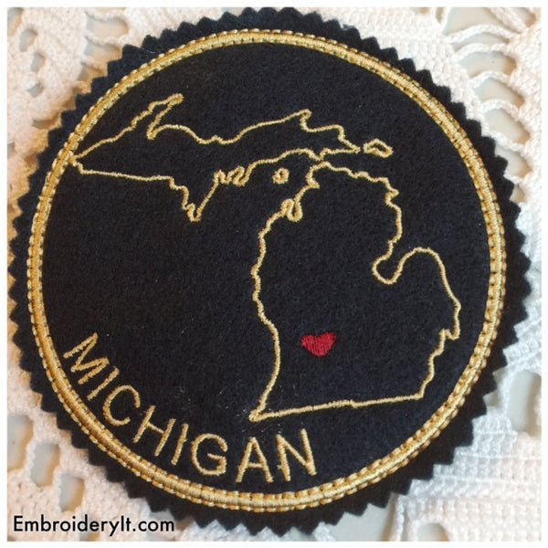Machine embroidery Michigan coaster