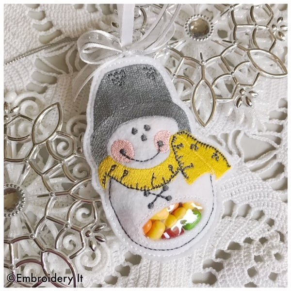 sewing snowman candy holder machine embroidery design