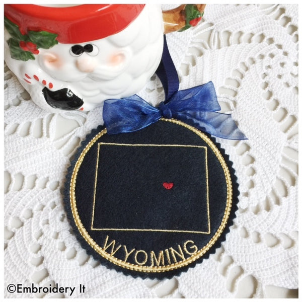 Wyoming machine embroidery in the hoop Christmas ornament pattern