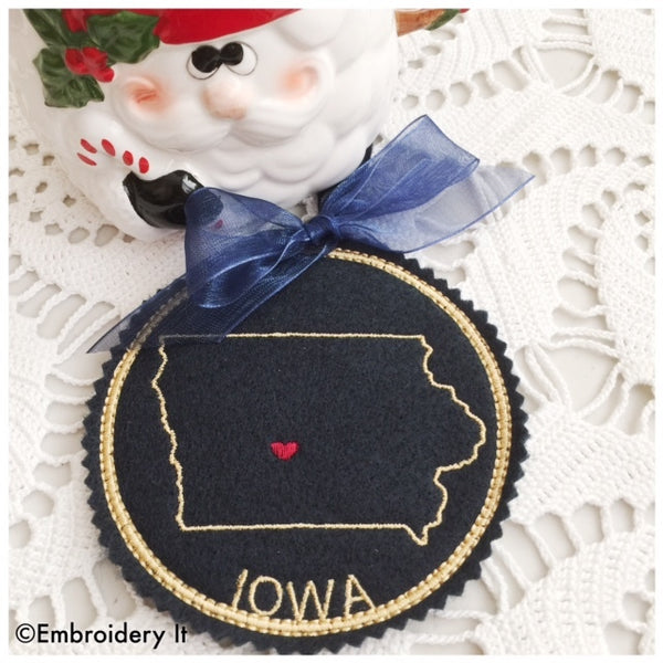 In the hoop Iowa ornament