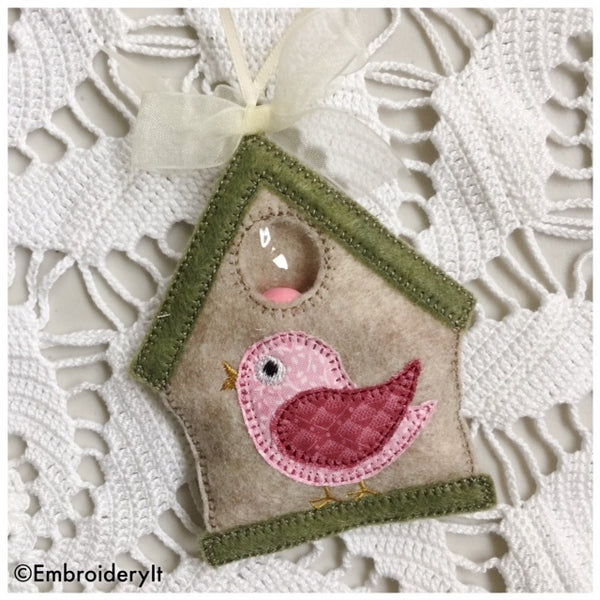 machine embroidery bird house candy holder