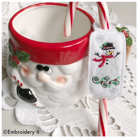 Snowman candy cane slider machine embroidery in the hoop design