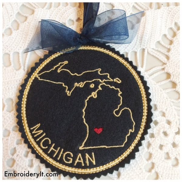 Machine embroidery Michigan ornament
