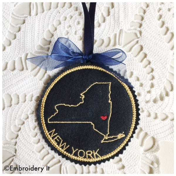 Machine Embroidery New York in the hoop Christmas ornament pattern